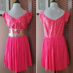 ASOS Off Shoulder Hot Pink Lace Tulle Mini Dress